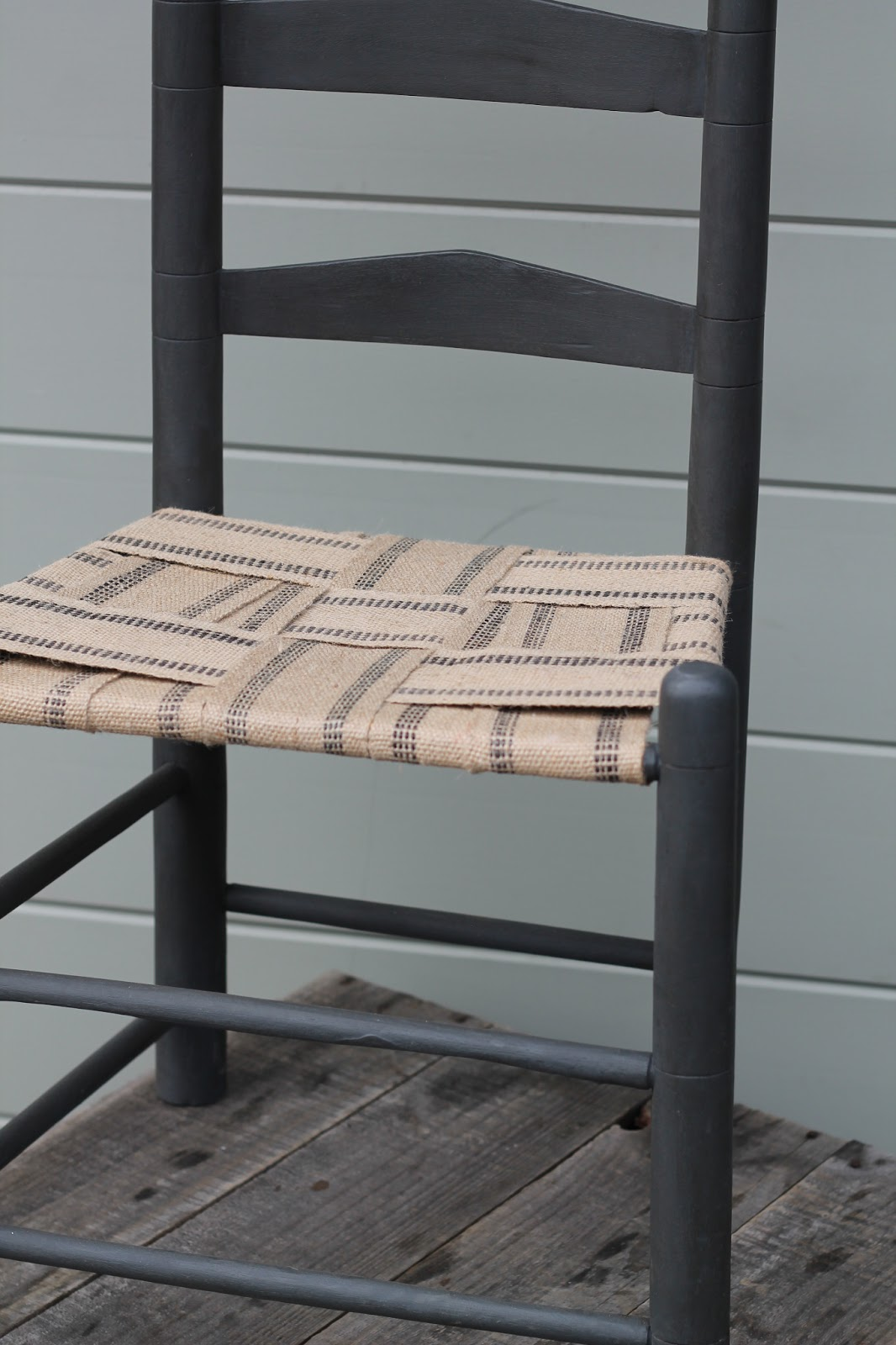 Walrus Black Ladder Back Chair With Woven Jute Seat