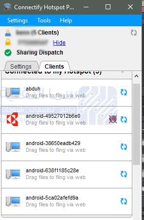 التحكم بالأجهزة المتصلة بالبرنامج Connectify Hotspot