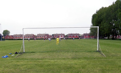 Picture: Football being played at Brigg Recreation Ground - image used on Nigel Fisher's Brigg Blog in December 2018