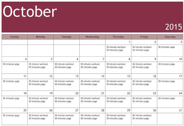 FroBunni | October Workout Schedule