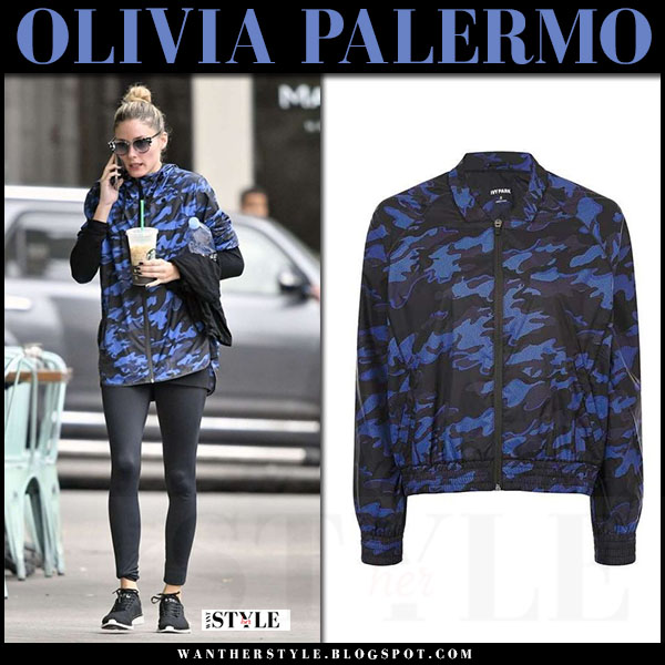 Olivia Palermo in blue camouflage print jacket topshop ivy park what she wore workout style