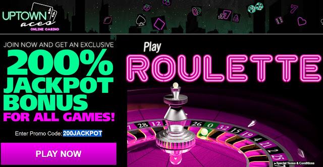 Uptown Aces casino 200% Roulette bonus