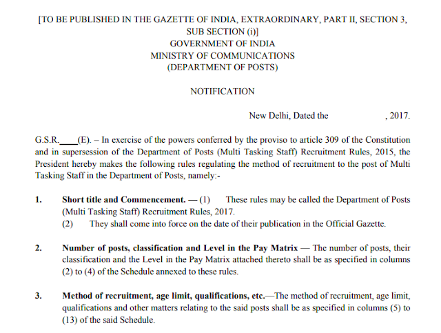 India Post:- Draft Notification on Recruitment Rules of Post PA-SA, Mailguard, Postman & MTS