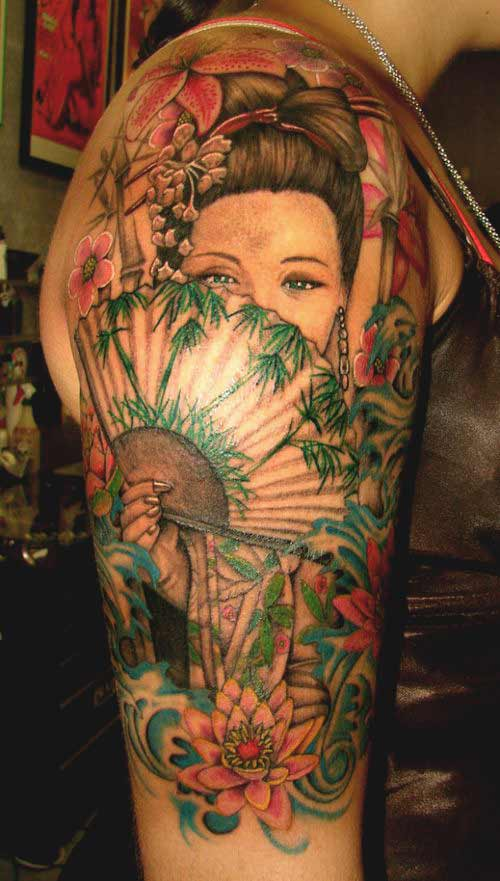 Realistic Japanese geisha girl tattoo on arm and shoulder designs for women