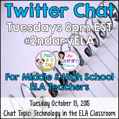 Join secondary English Language Arts teachers Tuesday evenings at 8 pm EST on Twitter. This week's chat will be focused on integrating technology in the ELA classroom.