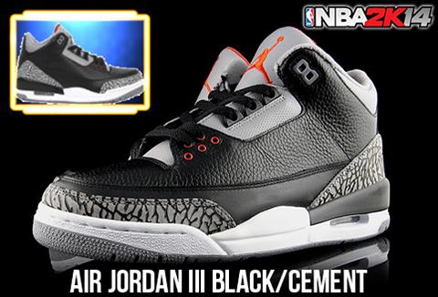 863785d736d1 NBA 2K14 Air Jordan 3 Black Cement Shoes Patch - NBA2K.ORG