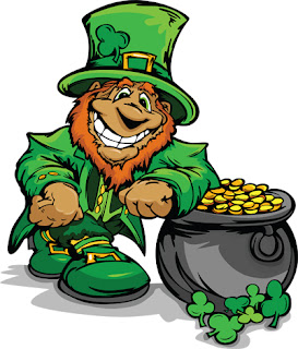 Clipart Image of a Leprechaun With a Pot of Gold