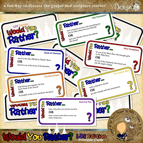 image about Would You Rather Cards Printable named Would Oneself Fairly? - LDS Model Printable Card Sport