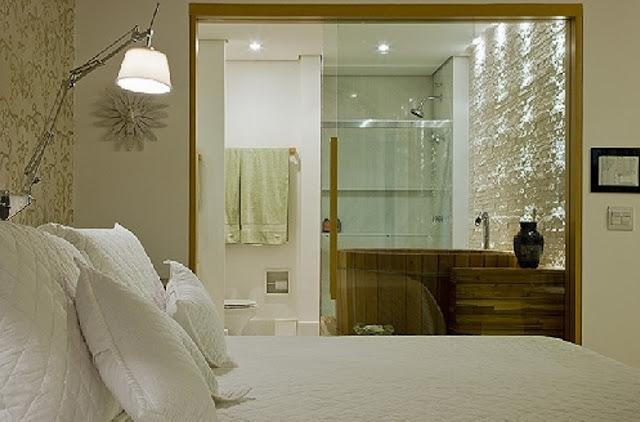 Banheiro Integrado Ao Quarto Pequeno ~ Nessa o banheiro tamb?m ? integrado ao quarto e fechado de vidro
