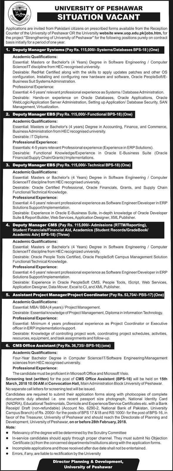 Latest Govt Jobs In University Of Peshawar February 2018 Vacancies