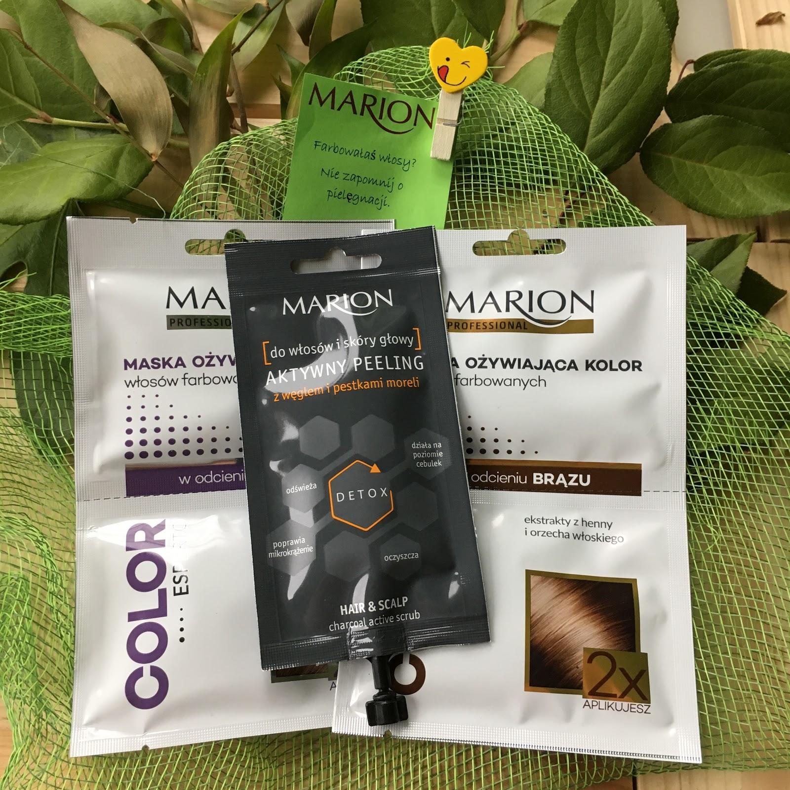 Pielęgnacja włosów z Marion, czyli moje spojrzenie na Aktywny peeling do skóry głowy oraz Maskę odżywiającą kolor.