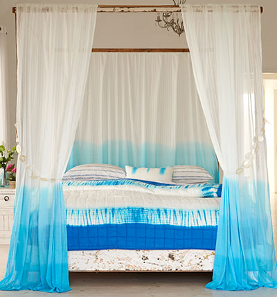 ocean blue dip dye curtains