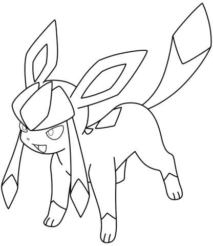 eevee evolution Glaceon Ice Pokemon XY Coloring Pages Online