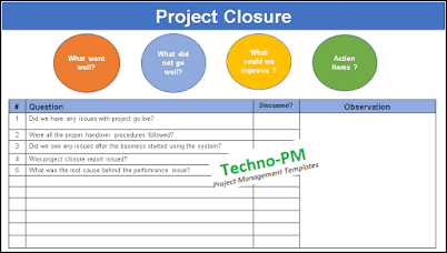 Project Closure Agenda, lessons learned, lessons learned project management