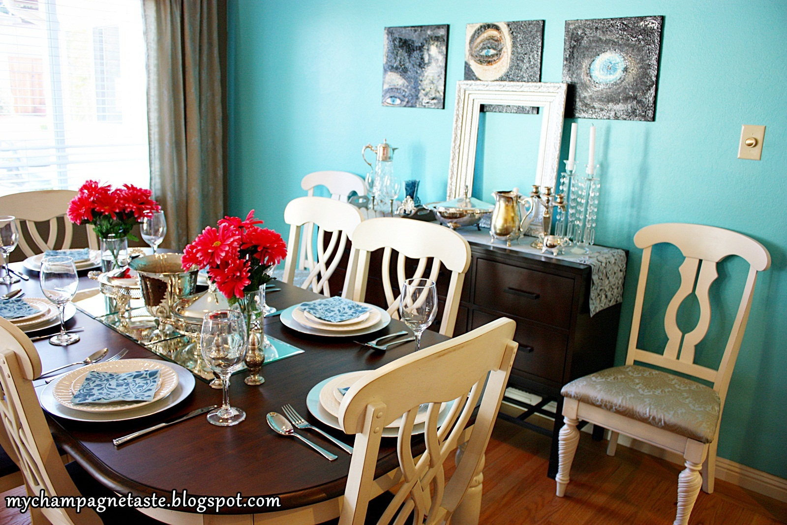 turquoise dining room | Champagne Taste: - Turquoise Living and Dining Room