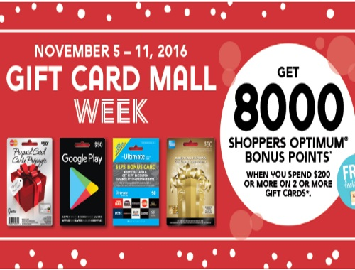 Shoppers Drug Mart 8000 Optimum Bonus Points When You Buy 2 Gift Cards