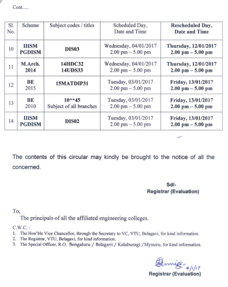 vtu timetable rescheduled
