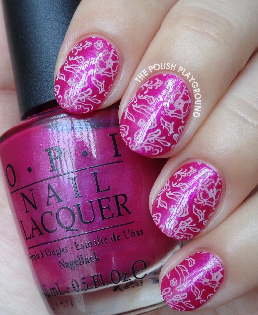 Fuchsia with Pink Leafy Floral Doodle Stamping Nail Art