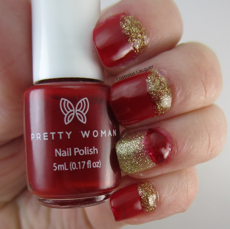 Half-moon-manicure-in-red-and-gold