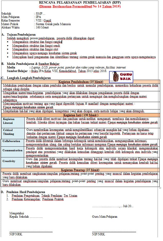gambar contoh RPP mapel IPA kelas 8 revisi 2020