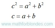 The Pythagorean theorem and the sum of a line segments. Mathematics For Blondes.