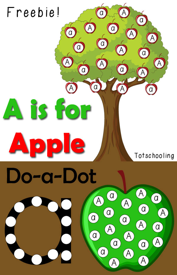 FREE printable Apple themed do-a-dot printables for toddlers and preschoolers to practice the letter A. Great for the Fall or Back to School season.