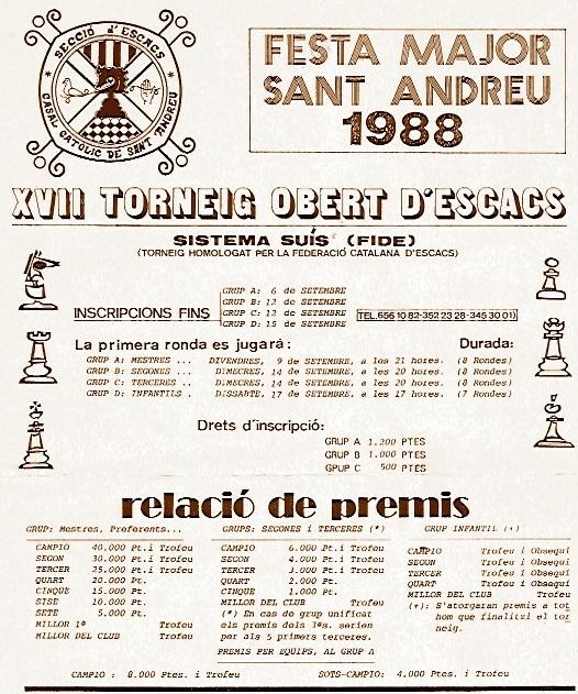 Cartel del XVII Torneig Obert de Sant Andreu 1988
