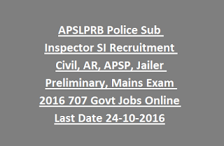 APSLPRB Police Sub Inspector SI Recruitment Civil, AR, APSP, Jailer Preliminary, Mains Exam 2016 707 Govt Jobs Online Last Date 24-10-2016