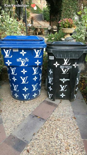 Too much money! Kim Kardashian shows off her Louis Vuitton trash bins