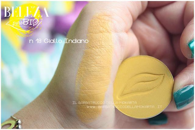 swatches beleza purobio eyeshadow ombretti 18 giallo indiano