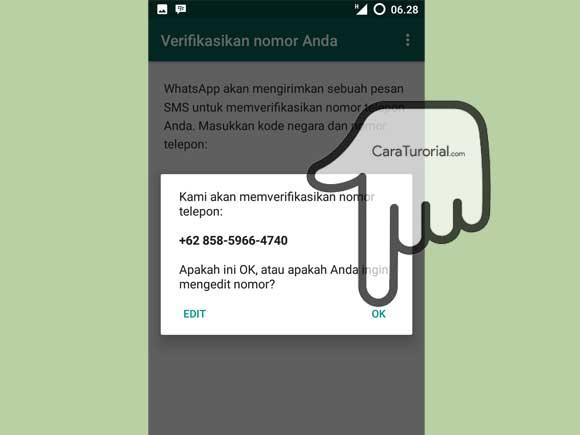 Konfirmasi Verifikasi nomor telepon akun WhatsApp