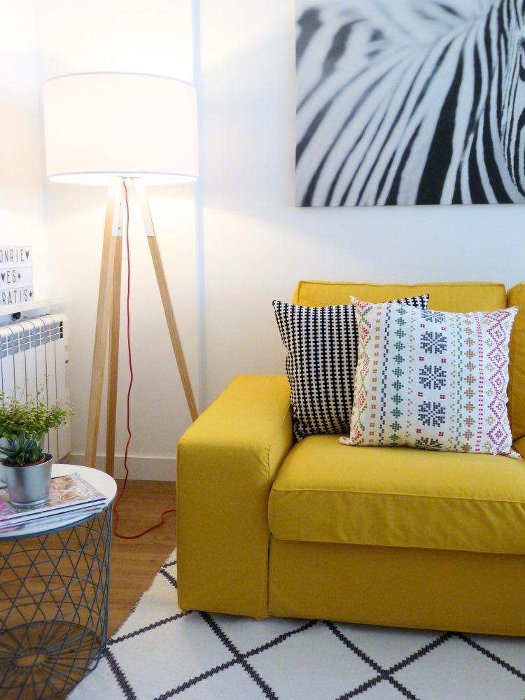 sofá kivik amarillo con fundas comfort works