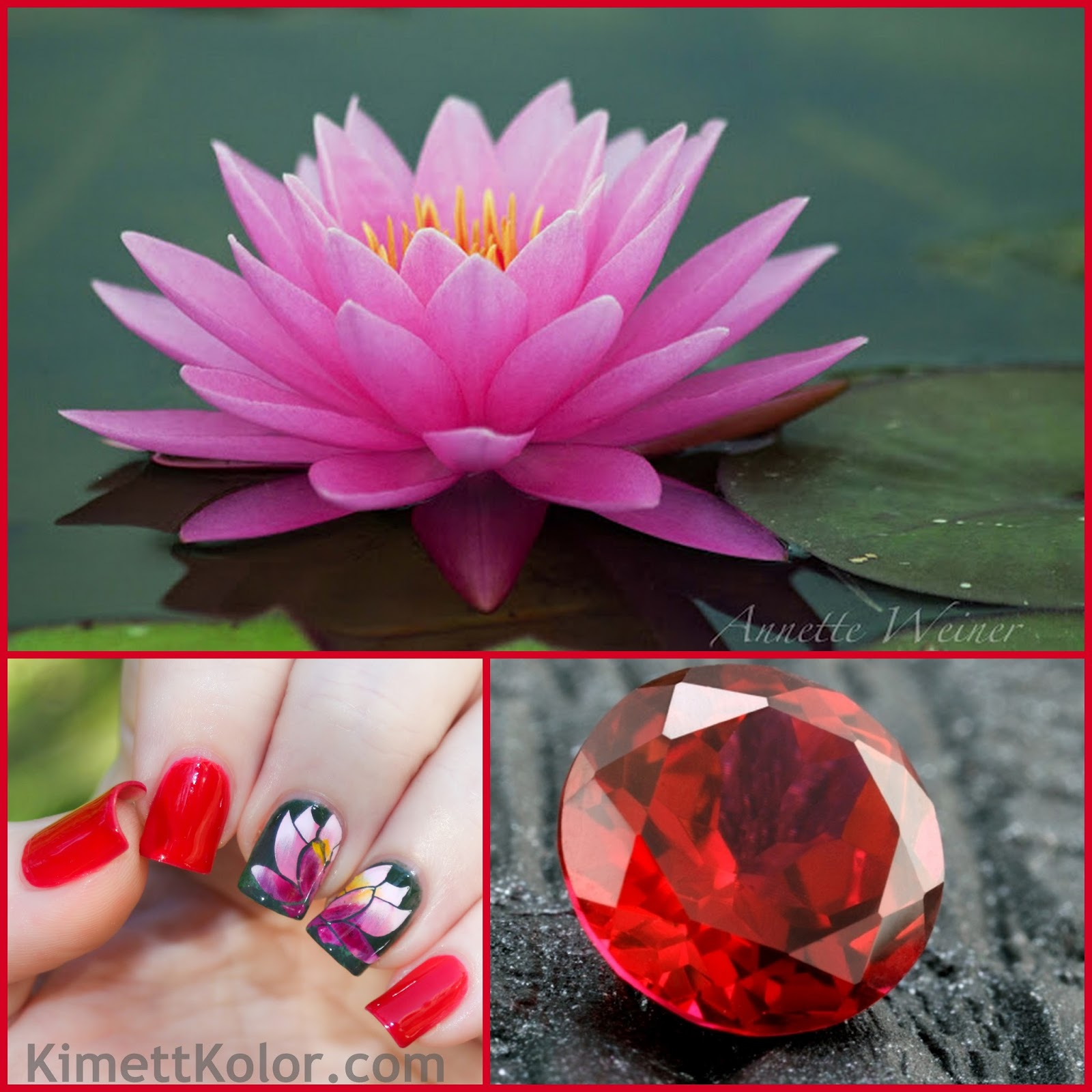 july ruby water lily gemstone birthflower nail art