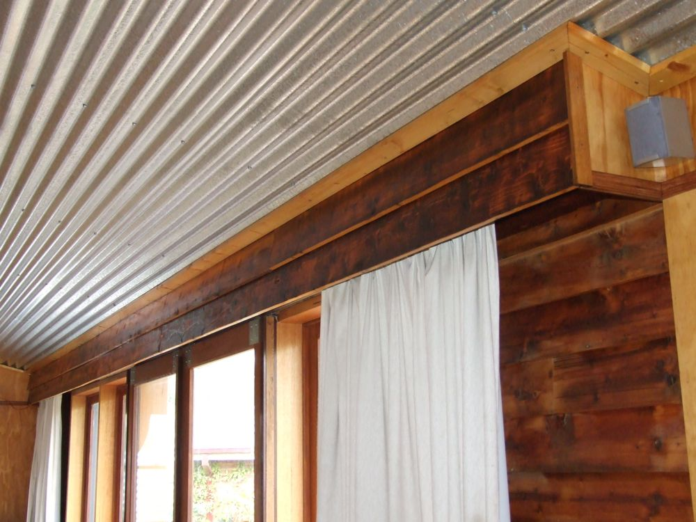 The Finished Pelmet Made With Lining Boards Recovered From Original Bungalow Oiled And Varnished