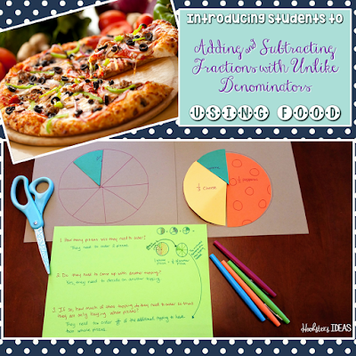Introducing adding and subtraction fractions with unlike denominators using food!