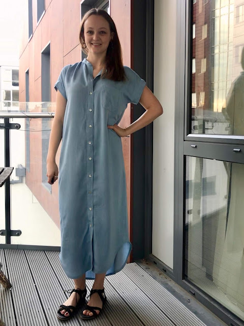 Diary of a Chain Stitcher: Sand Washed Viscose Chambray Closet Case Patterns Maxi Kalle Shirtdress