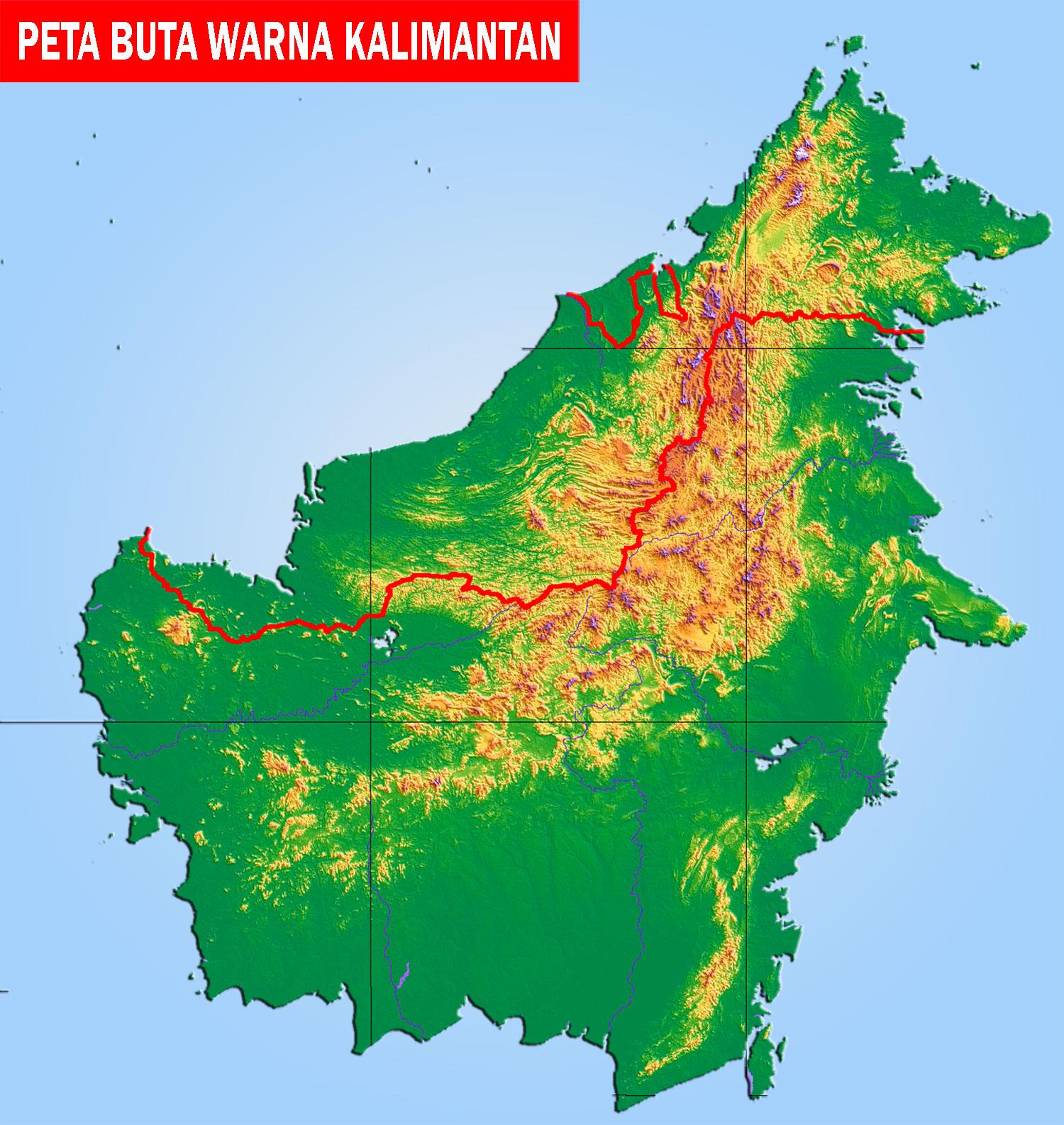 Peta Kalimantan Lengkap 5 Provinsi Sejarah Negara Gambar Buta Berwarna
