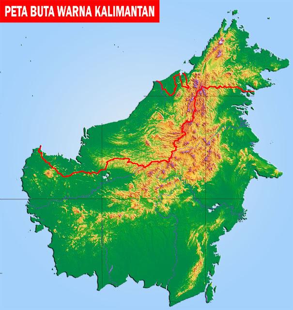 Gambar Peta Kalimantan Buta Berwarna