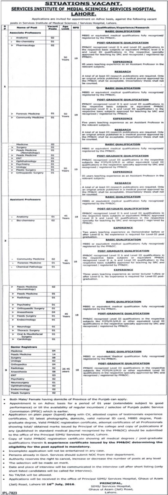 Assistant Professor and Senior Registrar Jobs in Services Hospital Lahore for MBBS Doctors