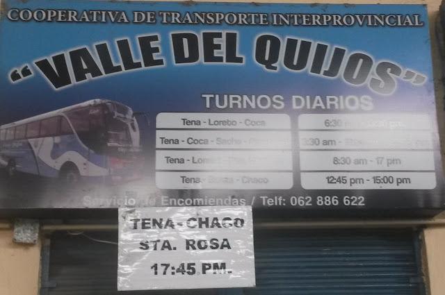 Cooperativa de Transportes Valle del Quijos en la ciudad de Tena