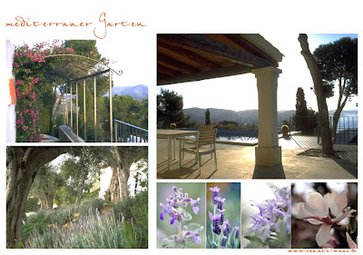 mediterraner Garten auf Mallorka mit Blick aufs Meer