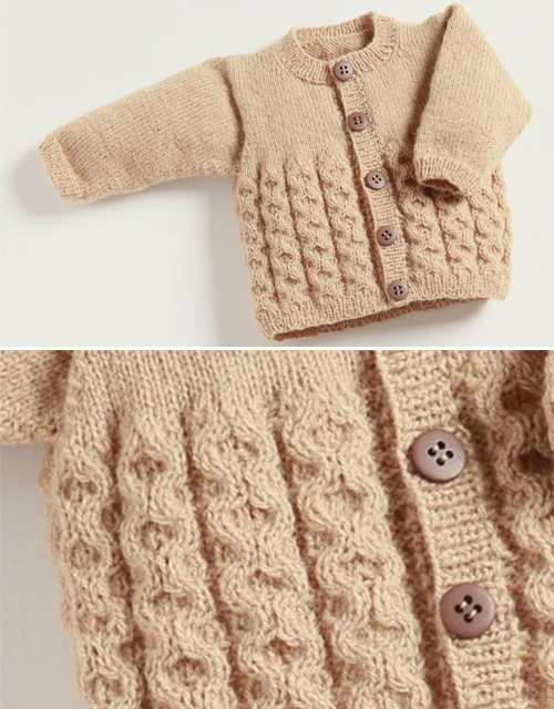 Baby Cardigan with Cables - Free Pattern
