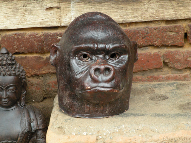 Nepali craftsman's creation, clay monkey head