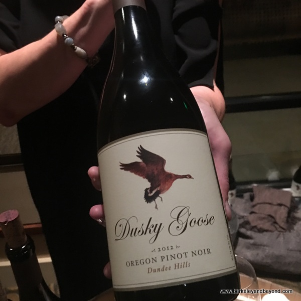 bottle of pinot noir at Dusky Goose in Dundee in Willamette Valley in Oregon