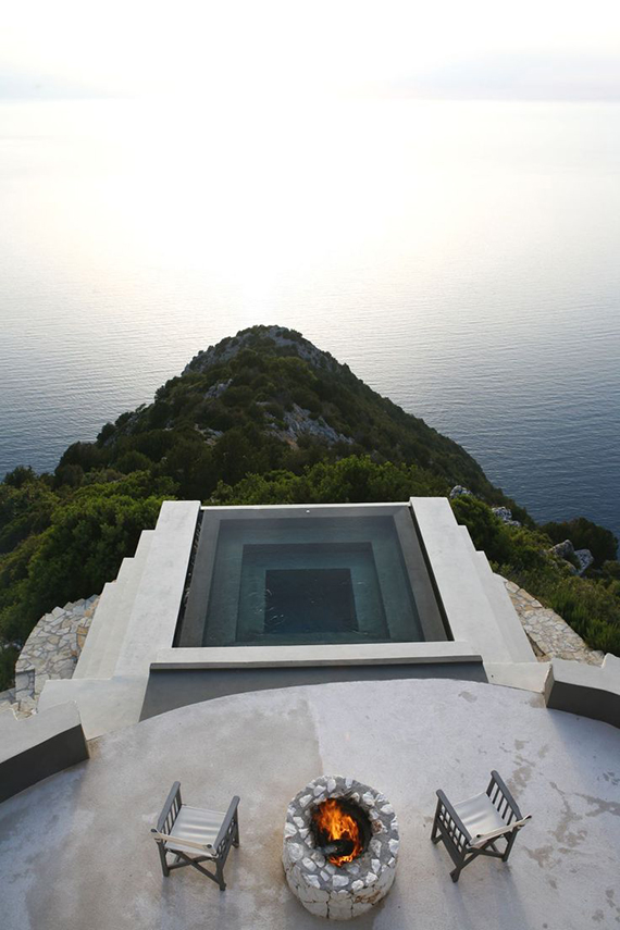 Cliffside minimalistic pool of Villa Althea in Kefalonia