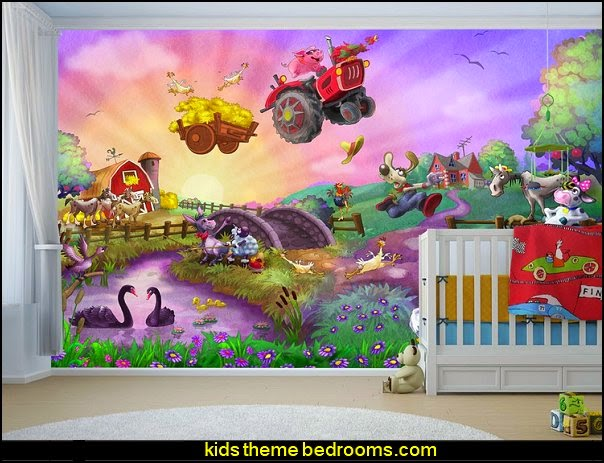 Funny Farm for Kids wallpaper mural   Farm theme bedroom decorating ideas - horse theme bedroom decorating ideas - girls horse theme bedrooms - farm animals decor - Country themed bedroom - John Deere decor - John Deere bed - John Deere wall decals - Barnyard Bedroom Theme - Farm themed wall decals - farm animals kids wall decor - tractor beds