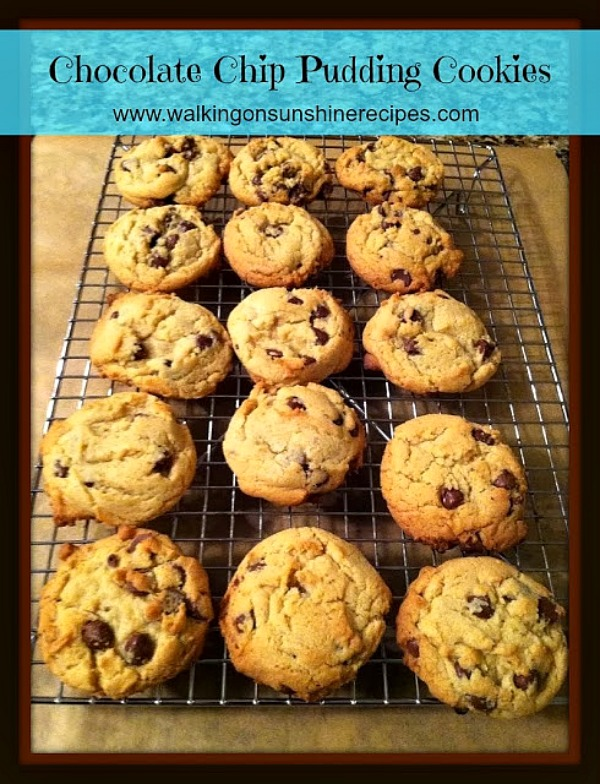 The secret to these amazing chocolate chip cookies is the pudding mix added to the batter!  Check them out on Walking on Sunshine Recipes