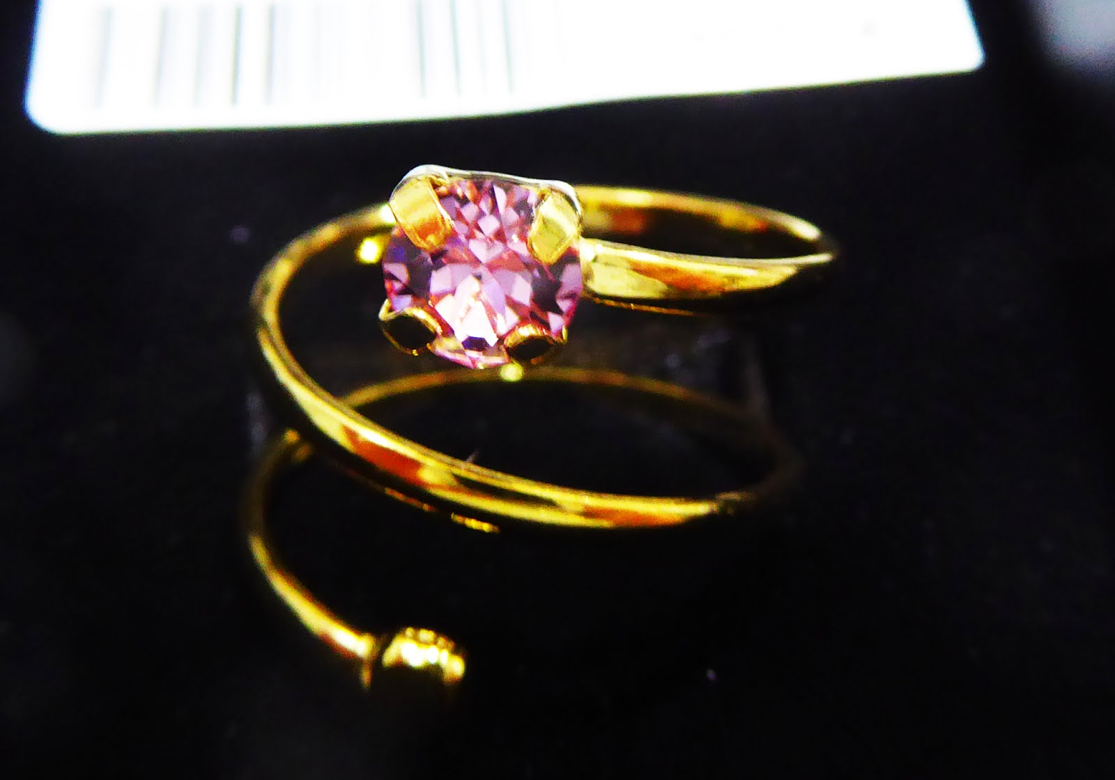 Anillo espiral plata dorada. Light Rosa