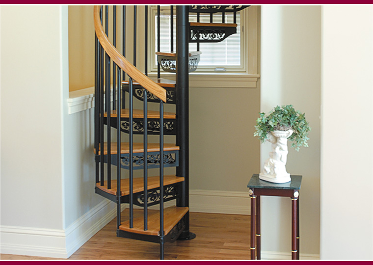 Small Scale Homes Space Saving Stairs Ladders For Small Homes   5 Foot Spiral Staircase   Metal   Hayden Gray   Reroute Galvanized   Steel   Handrail
