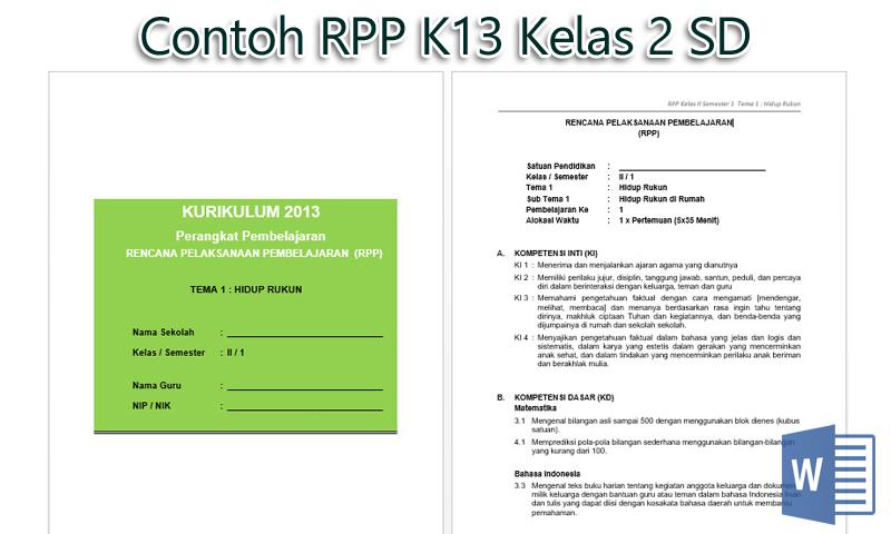 Contoh RPP K13 Kelas 2 SD Semester I dan II Revisi 2016